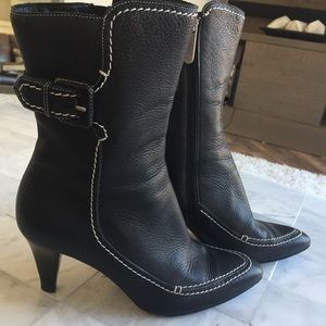 Bally Forfar Buckle Stitched Booties Leather